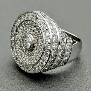 Statement Sterling Silver Lab Diamond Cluster Ring
